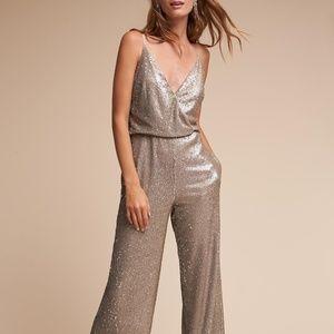 BHLDN Aidan Mattox La Lune Sequin Jumpsuit Size 12